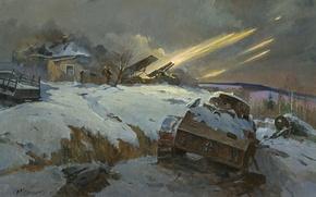 Wallpaper War, missiles, Art, Katusha, start