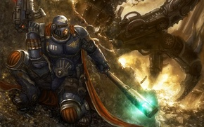 Picture fire, mechanism, battle, soldiers, Warhammer, cloak, bolter, stick, power armor, Book of Judgement, in the …