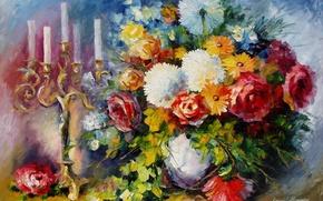 Picture flowers, bouquet, candles, art, vase, candle holder, Leonid Afremov