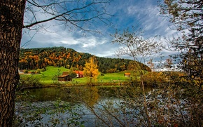 Picture autumn, the sky, grass, trees, river, hills, home