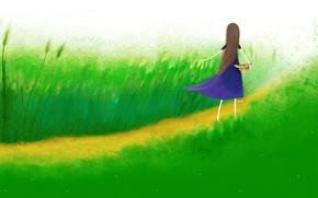 Picture field, summer, grass, back, hat, dress, girl, ears, blue, path, long hair, art, Echi
