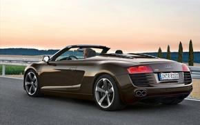 Picture road, Audi, audi, guys, r8 spyder 4-2 fsi quattro машины