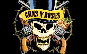 Picture flowers, weapons, Guns N' Roses, trunk, music, rock, rose