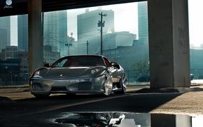 Picture machine, the city, puddle, Parking, Ferrari F430, Ferrari
