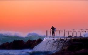 Picture waves, sea, rocks, morning, sunrise, surfing, surf, surfer, extreme sport