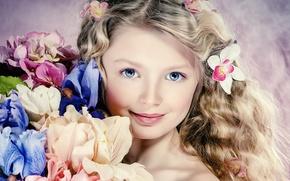 Picture look, flowers, hair, portrait, girl, blue eyes