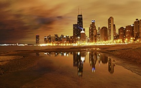 Wallpaper night, the city, lights, lake, Chicago
