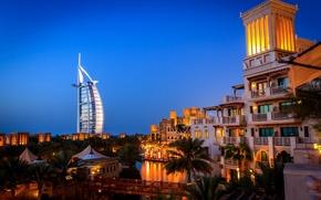 Picture bridge, the city, palm trees, building, the evening, Dubai, the hotel, Dubai, UAE, Mina A' …