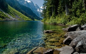 Picture water, trees, mountains, nature, mountain river