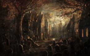 Wallpaper Halloween, pumpkin, halloween, trees, graves, leaves, village, plate, gloom, maple