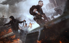 Picture machine, weapons, smoke, home, shooting, male, panic, Creek, Deep Silver, Homefront: The Revolution