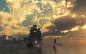 Wallpaper fortress, water, ship, clouds, fire