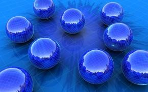 Wallpaper balls, blue, mesh, reflection