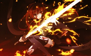 Picture girl, fire, sword, anime, art, shakugan no shana, Shana