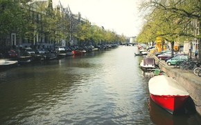 Picture white, water, trees, machine, red, bridge, the city, black, boat, color, home, Amsterdam, channel, green, ...