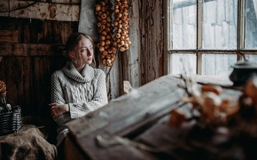 Picture girl, portrait, colors, bow, the barn, blonde, beautiful, mood, sweater, inspiration, window, countryside, cold, bundle, …