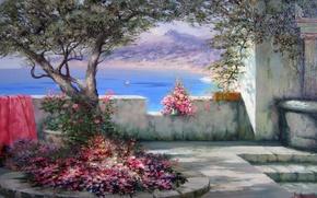 Picture sea, summer, joy, flowers, tree, The sun, shadow, sail, Crimea, Miliukov Alexander, Southern landscape