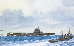 Picture ship, art, the carrier, Navy, military, Japanese, destroyer, WW2, destroyer, aircraft carrier, IJN, Taiho