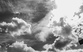 Picture the sky, clouds, black and white