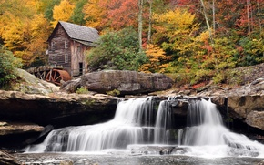 Wallpaper autumn, forest, waterfall, mill, Babcock State Park, West Virginia
