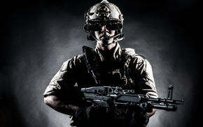 Picture soldier, military, equipment, firearm