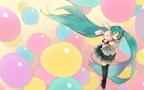 Picture girl, balls, toy, hare, headphones, art, form, Hatsune Miku, Vocaloid, Vocaloid