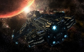 Picture space, fiction, ship, planet, art, flight