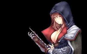 Picture girl, the dark background, knife, hood, assassin's creed