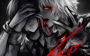 Picture blood, black and white, the girl and the guy, Tokyo Ghoul, Tokyo ghoul, Ken kanek, …