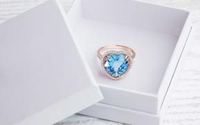 Picture white, box, ring, diamond, decoration