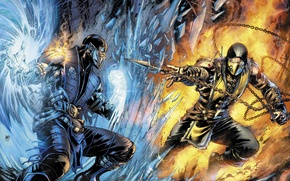 Picture art, Scorpion, Sub-Zero, Mortal Kombat X