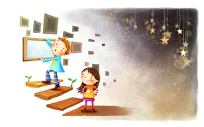 Picture girl, ladder, stars, smile, figure, frame, sprouts, boy