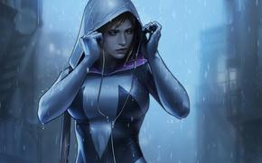 Picture look, girl, headphones, art, costume, hood, bag, Marvel Comics, Gwen Stacy, Spider Gwen