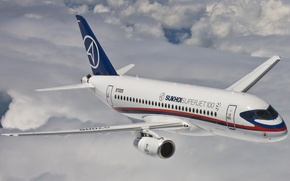 Picture flight, the plane, passenger, Sukhoi Superjet 100