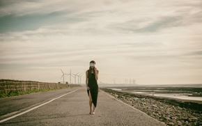 Picture road, girl, headband