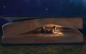 Picture grass, girl, night, collage, dark, lantern, book, lying, reading, giant