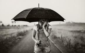 Picture girl, photo, rain, white, umbrella, black