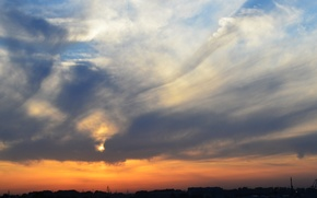 Picture the sky, sunset, the city, dal, Novosibirsk
