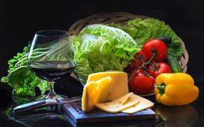 Picture wine, glass, cheese, cucumber, pepper, vegetables, tomatoes, salad