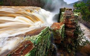 Wallpaper nature, river, stones, waterfall, stream, dam, the bushes