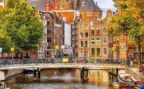 Picture autumn, trees, bridge, the city, river, people, building, home, boats, Amsterdam, channel, Netherlands, architecture, Amsterdam, ...