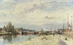 Picture landscape, picture, Edward Seago, Along The Canal. Amsterdam