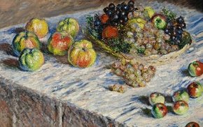 Picture table, picture, Claude Monet, Still life. Apples and Grapes