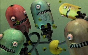 Picture eyes, metal, fear, robots, pakmen, pac man
