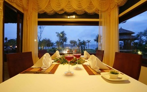 Picture table, window, veranda, dining room, serving