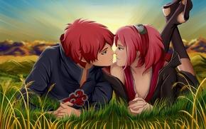 Wallpaper grass, girl, sunset, headband, guy, ninja, Naruto, art, pink hair, Sakura Haruno, No time for ...
