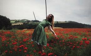 Wallpaper rope, field, girl, Maki