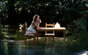 Picture water, girl, table, the situation, the flood