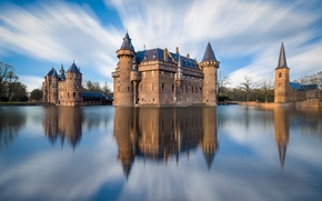 Picture reflection, De Haar, Utrecht, the city, castle, Netherlands, the sky, river, clouds