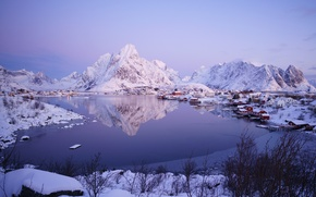 Picture snow, Bay, Norway, the village